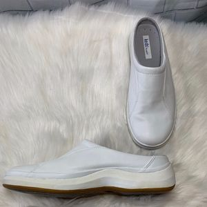 Kids Purefit Zoe White Leather Clogs Mules Size 8